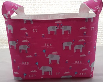 Storage Organizer Container Basket Bin Fabric - Elephant Showers Elephants Pink