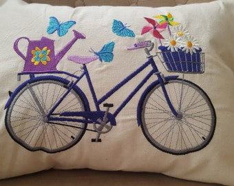 Throw Pillow  Bike Bicycle Machine Embroidery  -  Gardem Party Bicycle