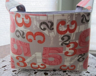 Fabric Organizer Basket Storage Bin Container - 2wenty thr3e Numbers pavement Two Three Five