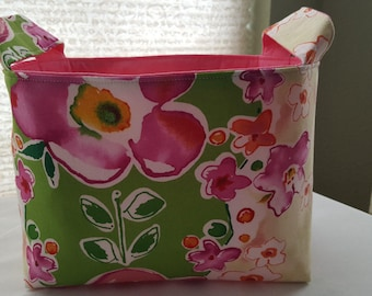 Storage Organizer Basket Caddy Bin Container Fabric  - Green with Pink Big Flowers