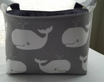 Storage Organizer Basket  Bin Container Fabric - Gray and White Whales - Choose your Lining Color