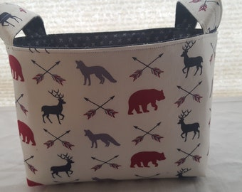 Storage and Organization - Bear Moose Deer - Fabric Organizer Bin Storage Container Basket