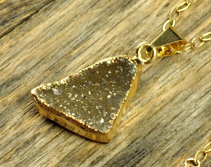 Small Green Druzy Necklace, Green Druzy Pendant, Green Druzy Jewelry, Druzy Gold Necklace, Druzy Gold Pendant, 14k Gold Fill Chain