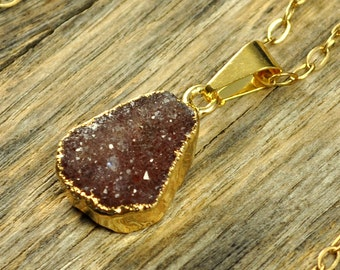 Small Druzy Necklace, Cherry Druzy Pendant, Cherry Druzy Jewelry, Cherry Druzy, Gold Druzy Necklace, Gold Druzy Pendant, 14k Gold Fill Chain