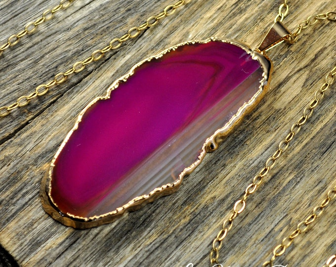 Agate Necklace, Hot Pink Agate Necklace, Agate Slice Pendant, Agate Slice Necklace, Agate Gold Necklace, Agate Jewelry, 14k Gold Fill Chain