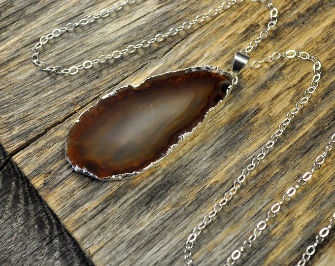 Agate Necklace, Brown Agate Necklace, Brown Agate Pendant, Agate Slice Pendant, Agate Slice Necklace, Silver Necklace, Sterling Silver Chain