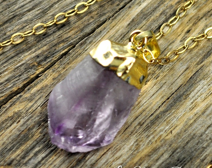 Amethyst Necklace, Amethyst Pendant, Amethyst Gold Necklace, Raw Amethyst, Amethyst Point, Purple Amethyst, Amethyst, 14k Gold Fill Chain
