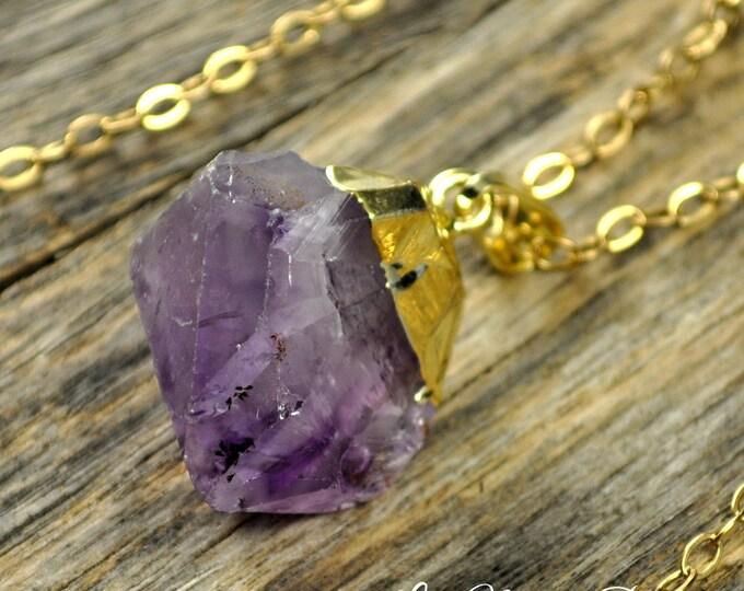 Amethyst Necklace, Amethyst Pendant, Amethyst Gold Necklace, Raw Amethyst, Amethyst Point, Purple Amethyst, Amethyst, 14k Gold Fill Chain