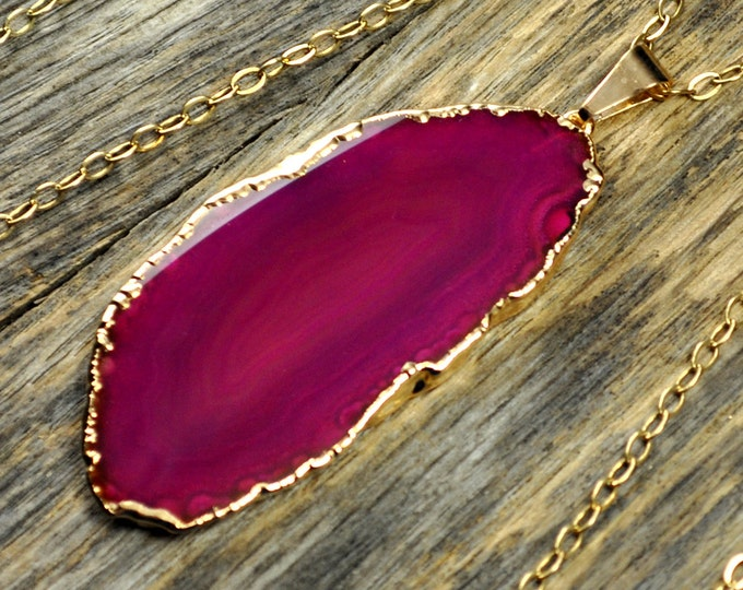 Agate Necklace, Hot Pink Agate Necklace, Agate Slice Pendant, Agate Slice Necklace, Agate Gold Necklace, 14k Gold Fill Chain
