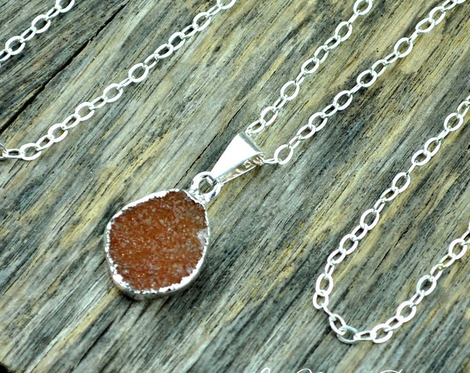 Druzy Necklace, Druzy Pendant, Druzy Jewelry, Silver Druzy, Small Druzy, Orange Druzy, Sterling Silver Chain, Druzy Stone, Druzy Crystal