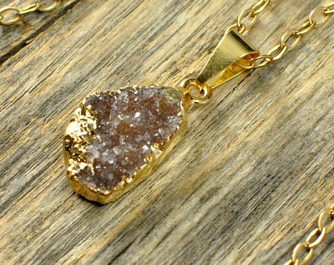 Small Druzy Necklace, Small Druzy Pendant, Gold Druzy Necklace, Gold Druzy Pendant, Natural Druzy, Brown Purple Druzy, 14k Gold Fill Chain