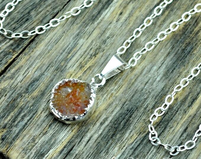 Druzy Necklace, Druzy Pendant, Druzy Jewelry, Silver Druzy, Small Druzy, Orange Druzy, Sterling Silver Chain, Druzy Stone, Druzy Crystal