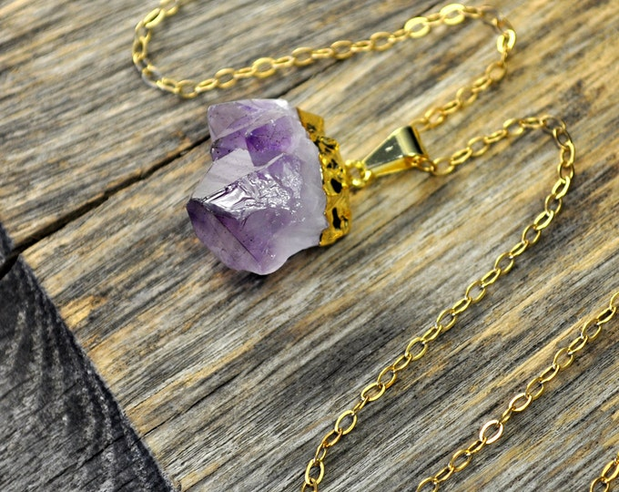 Amethyst Necklace, Amethyst Pendant Necklace, Amethyst Gold Necklace, Raw Amethyst Point Necklace, 14k Gold Fill Chain