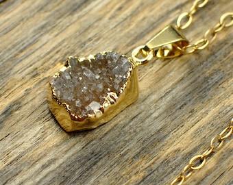 Small Druzy Necklace, Small Druzy Pendant, Gold Druzy Necklace, Gold Druzy Pendant, Natural Druzy, Brown Orange Druzy, 14k Gold Fill Chain