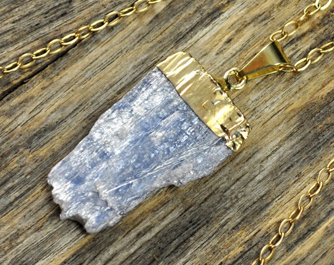 Kyanite Necklace, Kyanite Pendant, Kyanite Gold Necklace, Kyanite Stone Necklace, Kyanite Stone Pendant,Kyanite Jewelry, 14k Gold Fill Chain