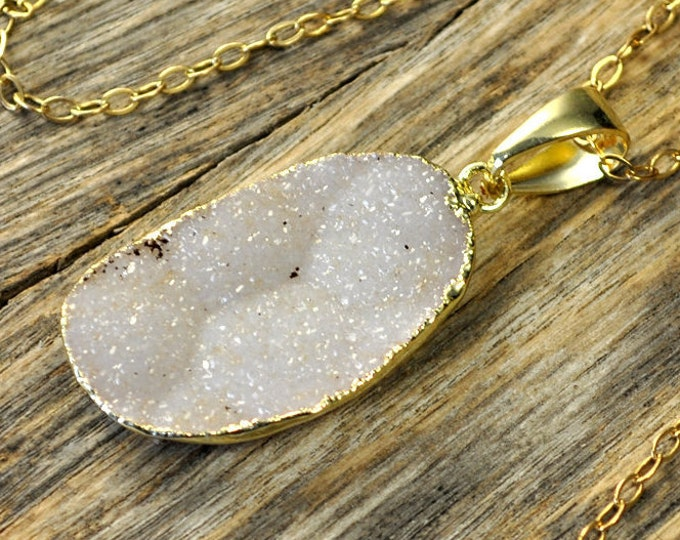 Large Druzy Necklace, Large Druzy Pendant, Druzy Jewelry, Gold Druzy Necklace, Gold Druzy Pendant, 14k Gold Fill Chain