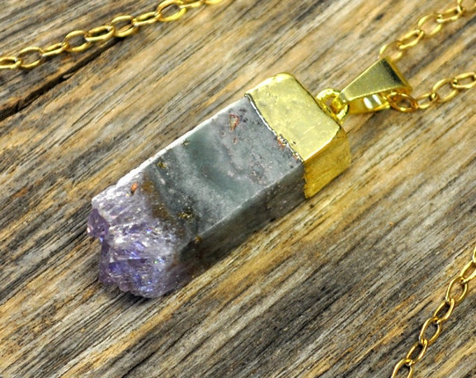 Amethyst Necklace, Amethyst Pendant, Amethyst Jewelry, Square Amethyst Slice Necklace, Amethyst Gold Necklace, Crystal, 14k Gold Fill Chain