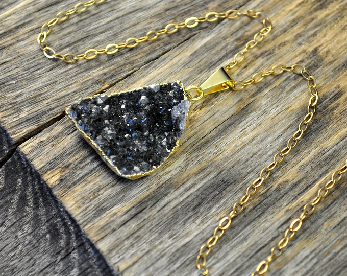 Druzy Necklace, Druzy Pendant, Druzy Jewelry, Gold Druzy Necklace, Gold Druzy Pendant, Gray Dark Druzy, 14k Gold Fill Chain