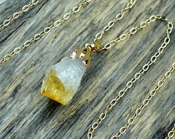 Citrine Necklace, Citrine Pendant, Citrine Stone, Raw Citrine, Citrine Crystal, Gold Citrine, November Birthstone, 14k Gold Fill Chain