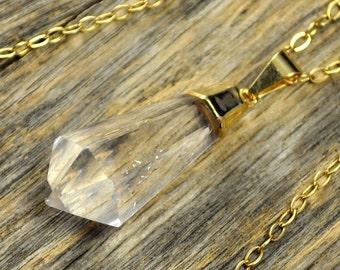 Crystal Necklace, Crystal Pendant Necklace, Crystal Gold Necklace, Teardrop Crystal Point Necklace, Crystal Jewlery, 14k Gold Filled