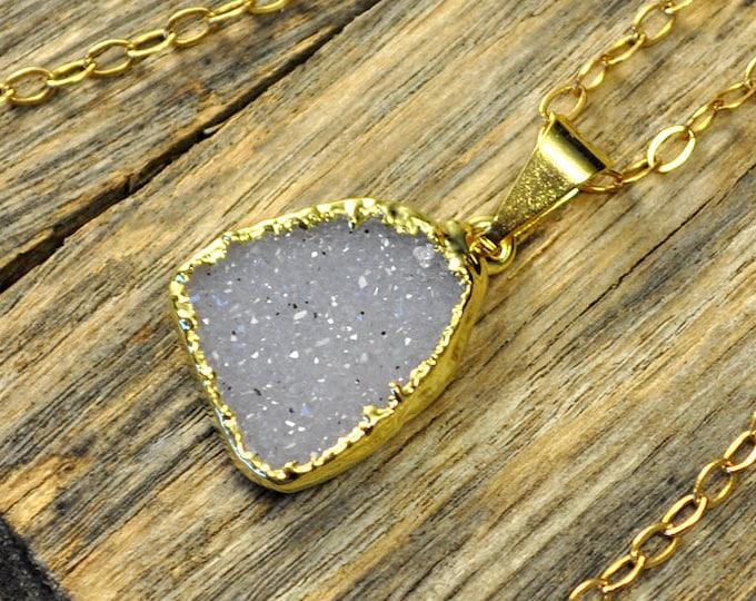 Small Druzy Necklace, Small Druzy Pendant, Druzy Jewelry, Gold Druzy Necklace, Gold Druzy Pendant, Snow Druzy Necklace, 14k Gold Fill Chain