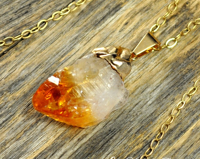 Citrine Necklace, Citrine Pendant, Citrine Stone, Raw Citrine, Citrine Crystal, Gold Citrine, 14k Gold Fill Chain