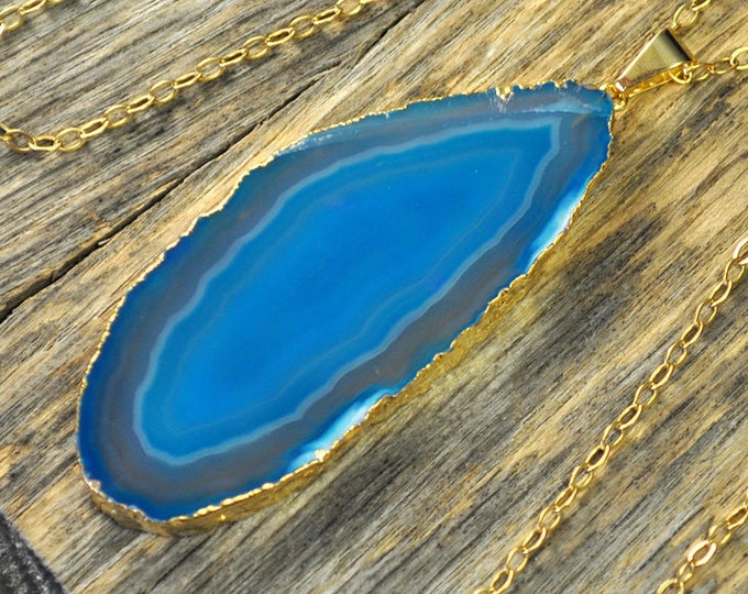 Agate Necklace, Teal Agate Necklace, Agate Slice Pendant, Agate Slice Necklace, Agate Gold Necklace, 14k Gold Fill Chain
