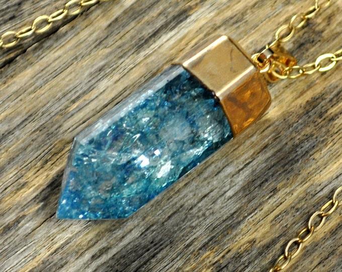 Crystal Necklace, Crystal Pendant, Crystal Gold Necklace, Crystal Point, Teal Crystal Necklace,Teal Crackle Crystal, 14k G...