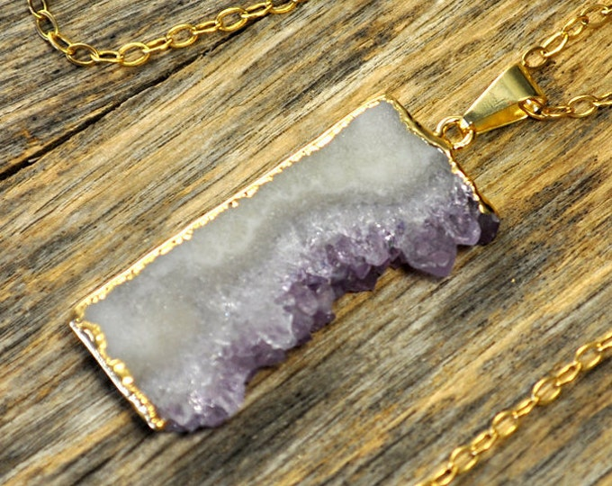 Amethyst Necklace, Amethyst Pendant, Amethyst Jewelry, Amethyst Slice Necklace, Amethyst Gold Necklace, Amethyst Stone, 14k Gold Fill Chain
