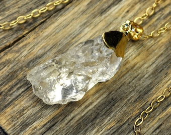 Crystal Necklace, Crystal Pendant Necklace, Crystal Gold Necklace, Clear Raw Crystal Necklace, 14k Gold Fill Chain