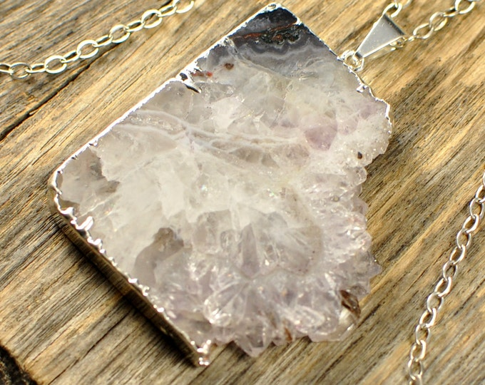 Amethyst Necklace, Amethyst Pendant, Amethyst Slice Necklace, Amethyst Silver Necklace, February Birthstone, Sterling Silver Chain