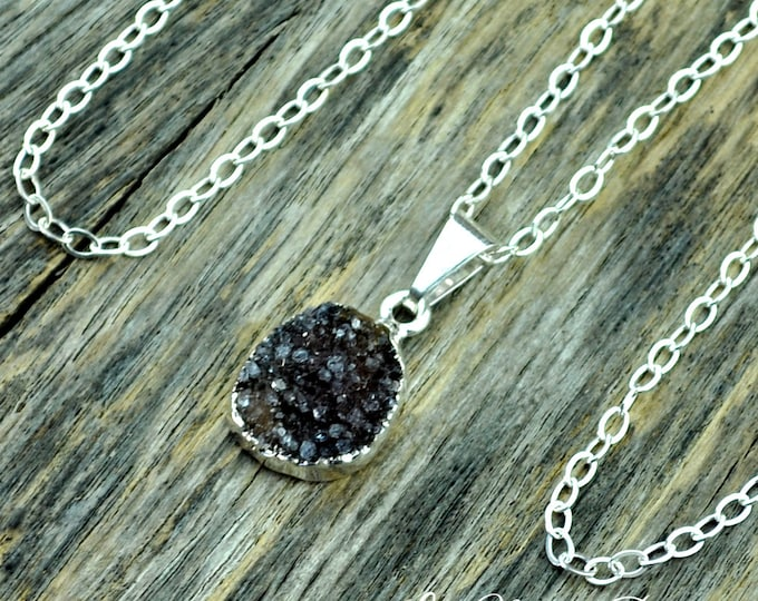 Druzy Necklace, Druzy Pendant, Druzy Jewelry, Silver Druzy, Purple Druzy, Brown Druzy, Sterling Silver Chain, Small Druzy, Druzy Crystal