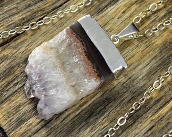 Amethyst Necklace, Amethyst Pendant, Amethyst Slice Necklace, Amethyst Silver Necklace, February Birthstone, Sterling Silver Chain