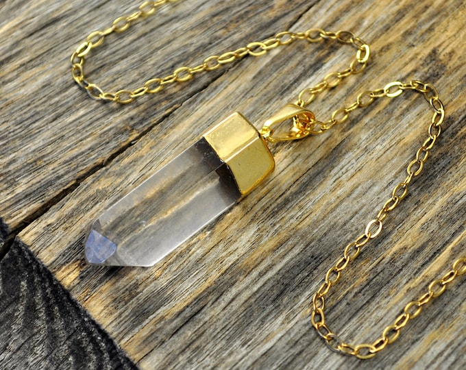 Crystal Necklace, Crystal Pendant Necklace, Crystal Gold Necklace, Crystal Point Necklace, Clear Crystal Necklace, 14k Gold Fill Chain
