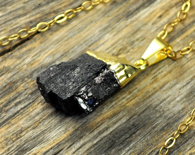 Tourmaline Necklace, Tourmaline Pendant, Tourmaline Gold Necklace, Black Tourmaline Necklace, Black Tourmaline Pendant, 14k Gold Fill Chain