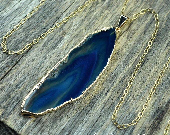 Agate Necklace, Blue Agate Necklace, Agate Slice Pendant, Agate Slice Necklace, Agate Gold Necklace, Blue Agate, Agate, 14k Gold Fill Chain