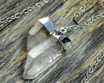 Crystal Necklace, Double Crystal, Crystal Pendant, Silver Crystal, Two Crystal, Crystal Point, Clear Crystal, Crystal, Sterling Silver Chain