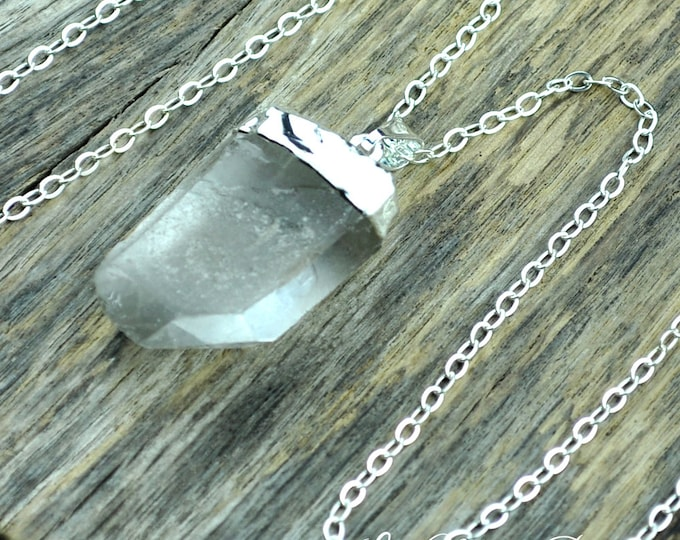 Crystal Necklace, Crystal Pendant Necklace, Crystal Point Necklace, Raw Clear Crystal Point, Silver Necklace, Sterling Silver Chain
