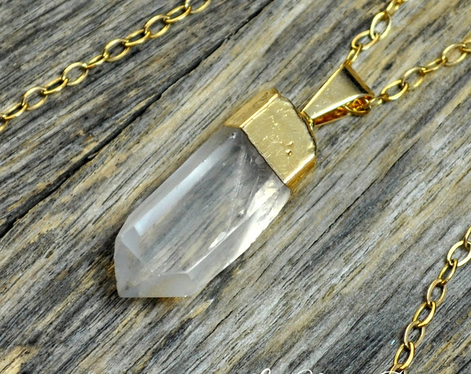 Small Crystal Necklace, Crystal Pendant, Crystal Pendant Necklace, Crystal Gold Necklace, Clear Crystal Point, Crystal, 14k Gold Fill Chain