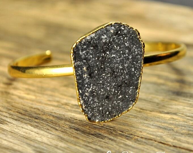 Druzy Bracelet, Natural Druzy, Adjustable Druzy Bracelet, Gold Druzy Bracelet, Freeform Druzy Bracelet, Single Druzy Bracelet, Druzy Jewelry