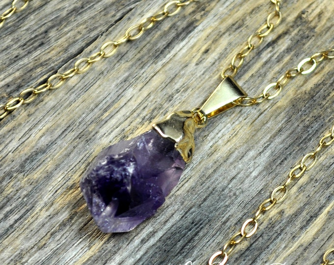 Amethyst Necklace, Amethyst Pendant, Gold Amethyst, Amethyst Pendant, Pendant, Raw Amethyst. Amethyst Point, Purple Amethyst 14k Gold Fill