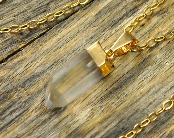 Small Crystal Necklace, Crystal Pendant Necklace, Crystal Gold Necklace, Clear Crystal Point Necklace, 14k Gold Fill Chain