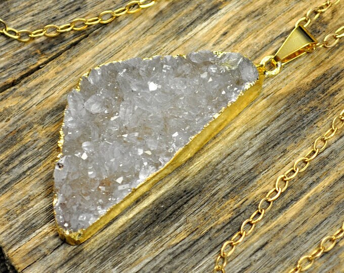 Large Light Lavender White Druzy Necklace, Druzy Pendant, Druzy Jewelry, Gold Druzy Necklace, Natural Druzy, 14k Gold Fill Chain