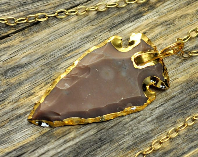 Jasper Necklace, Arrowhead Necklace, Jasper Pendant, Gold Necklace, Jasper Crystal Necklace, Purple Crystal Arrow, 14k Gold Fill Chain
