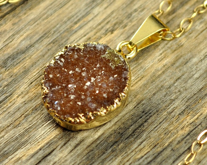 Small Druzy Necklace, Small Druzy Pendant, Gold Druzy Necklace, Gold Druzy Pendant, Natural Druzy, Brown Orange Druzy, 14k Gold Fill Chain