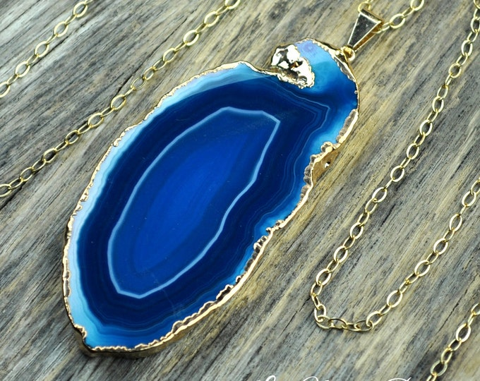 Teal Agate, Teal Agate, Agate Necklace, Agate Slice, Agate Pendant, Blue Agate, Blue Necklace, Agate Slice,Sliced Agate, 14k Gold Fill Chain