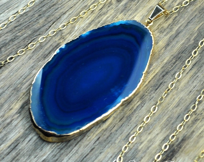 Agate Necklace, Teal Agate, Agate Slice, Teal Necklace, Agate Pendant, Blue Agate, Blue Necklace, Agate, Sliced Agate, 14k Gold Fill Chain