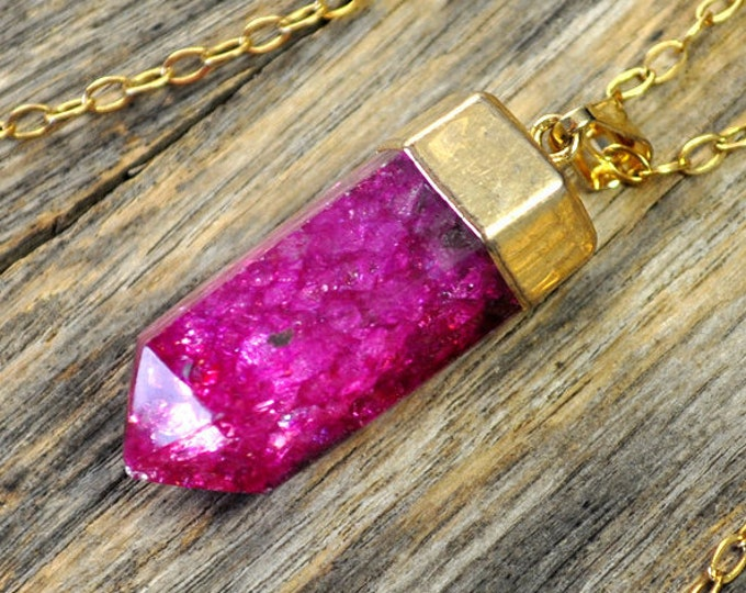 Crystal Necklace, Crystal Pendant, Crystal Gold Necklace, Crystal Point, Pink Crystal Necklace, Pink Crackle Crystal, 14k Gold Fill Chain