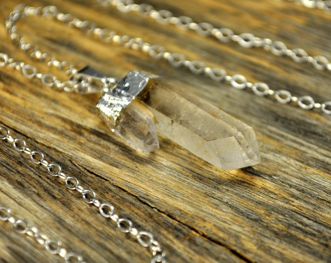 Crystal Necklace, Double Crystal Pendant Necklace, Double Crystal Sterling Silver Necklace, Two Clear Crystal Point, Sterling Silver Chain