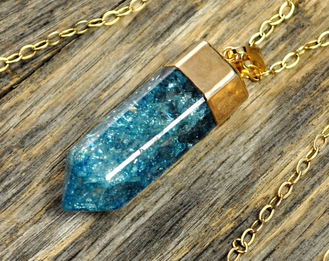 Crystal Necklace, Crystal Pendant, Crystal Gold Necklace, Crystal Point, Teal Crystal Necklace,Teal Crackle Crystal, 14k G...